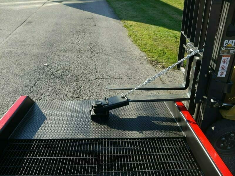 Copperloy's positioning sleeve connected to forklift | Heavy duty truck ramps