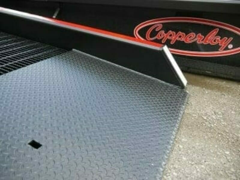 Low end plate and safety curbs for Copperloy heavy duty truck ramps