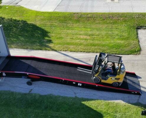 Forklift traveling up a Copperloy ramp | heavy duty truck ramps