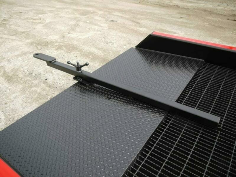 The towbar included with Copperloy heavy duty ramps